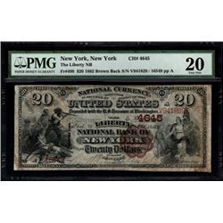 1882 $20 New York National Bank Note PMG 20