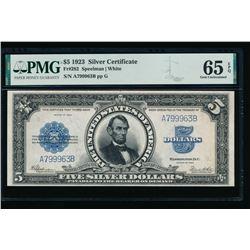 1923 $5 Lincoln Porthole Silver Certificate PMG 65EPQ