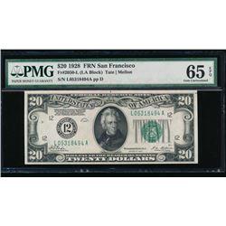 1928 $20 San Francisco FRN PMG 65EPQ