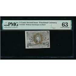 5 Cent Second Issue Fractional Note PMG 63