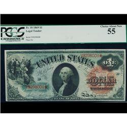1869 $1 Rainbow Legal Tender Note PCGS 55