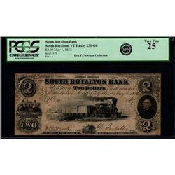 1852 $2 South Royalton VT National Note PCGS 25