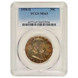 1958-D Franklin Half Dollar Coin PCGS MS65