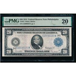 1914 $20 Philadelphia FRN PMG 20