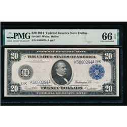1914 $20 Dallas FRN PMG 66EPQ