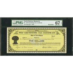 1933 $5 Bismarck ND Self Liquidating Tax Cert PMG 67EPQ