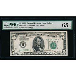 1928 $5 Dallas FRN PMG 65EPQ