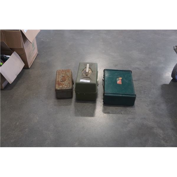 2 TACKLEBOXES WITH CONTENTS AND COEMAN CAMP STOVE