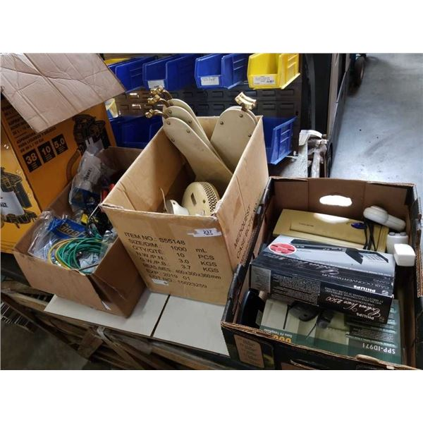 3 BOXES OF ESTATE GOODS, ELECTRONICS, CIELING FAN