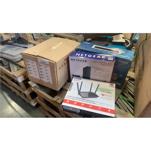 Lot of routers and computer items