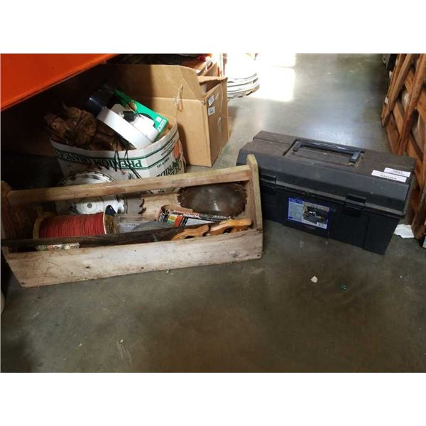 Black toolbox and carpenters box with contents