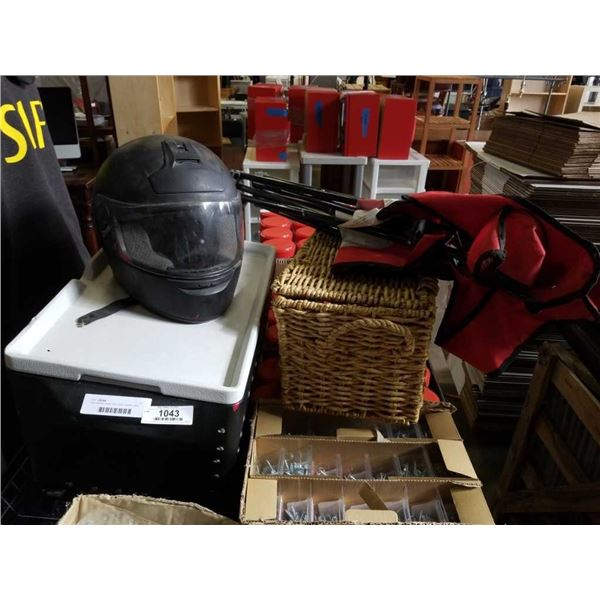 Party stacker cooler with wicker basket, camp chair and helmet