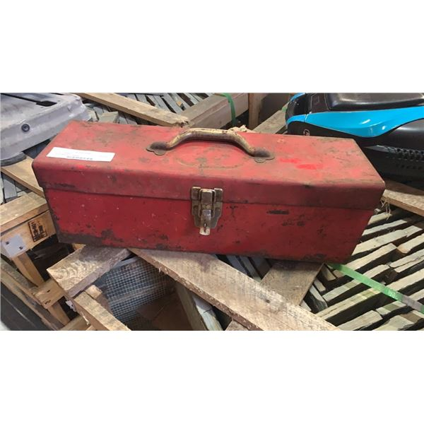 Red toolbox with contents