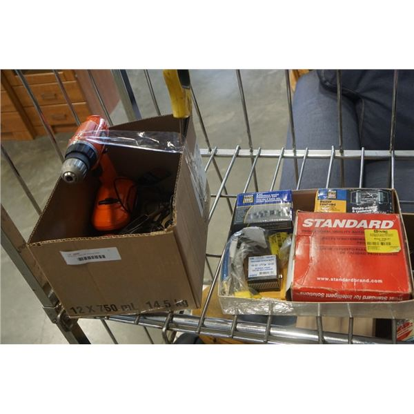 BOX AND TRAY OF TOOLS, TAPE MEASURES, CORDLESS BLACK AND DECKER DRILL, WINCH ROLLER, STAINLESS CONTA