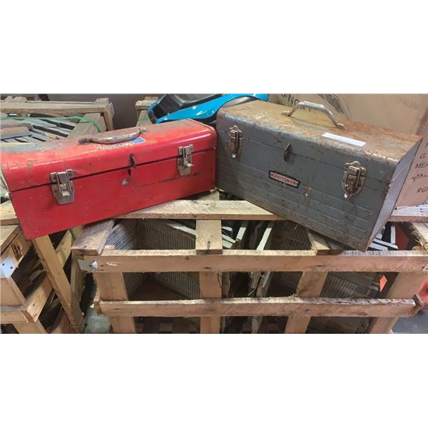 Red toolbox and grey toolbox with contents