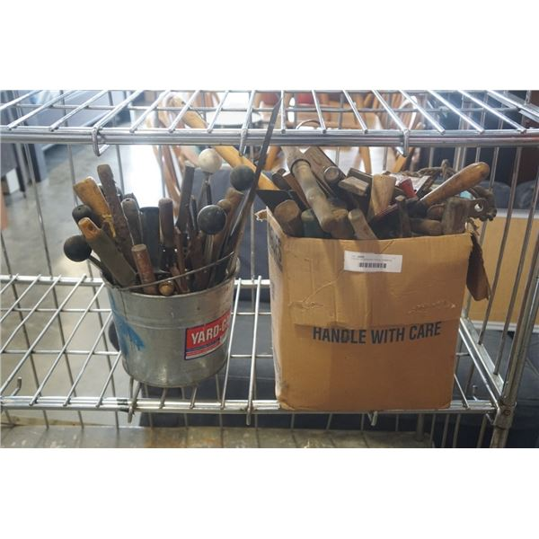 2 BOXES OF BANDING TOOLS, HAMMERS