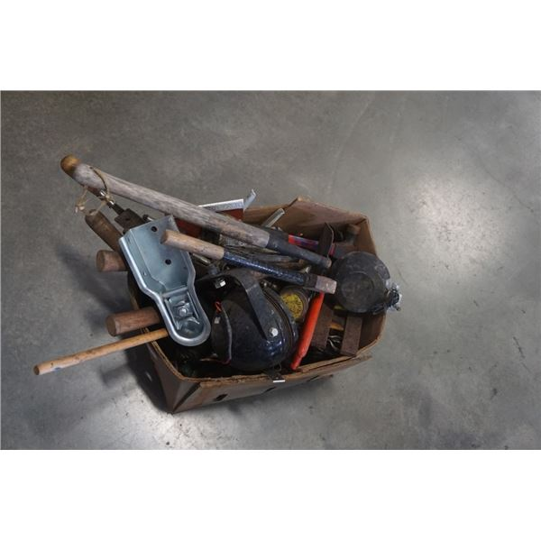BOX OF TOOLS, HATCHET, LIGHTS, HAMMERS