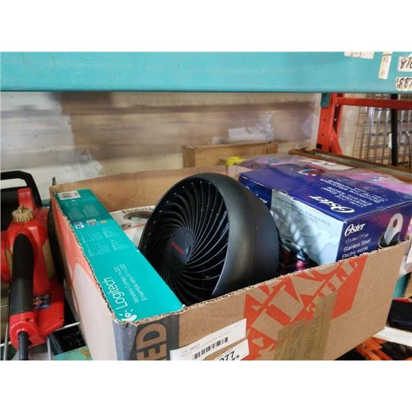BOX OF TAPE DISPENSERS, SECURITY CAMERA, FAN, ETC