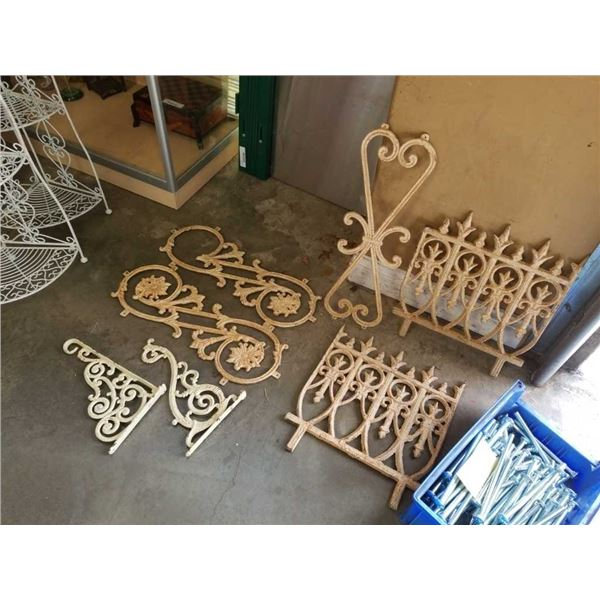 Lot of Cast Iron Decor brackets and garden fencing