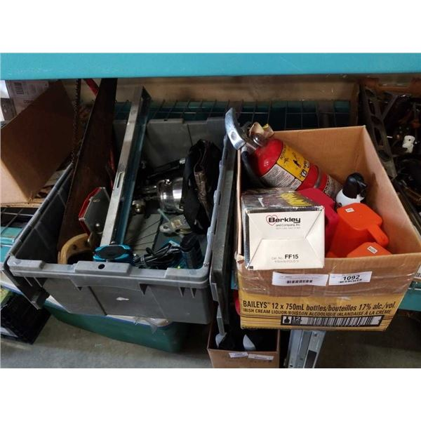 BOX OF FLASHLIGHTS, FOLDING FISHING ROD, QUANTUM REEL AND TOTE OF TOOLS