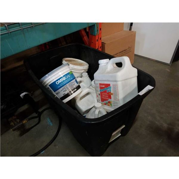 Large tote of waterproofing and flooring supplies: maplelastic, omni grip and more