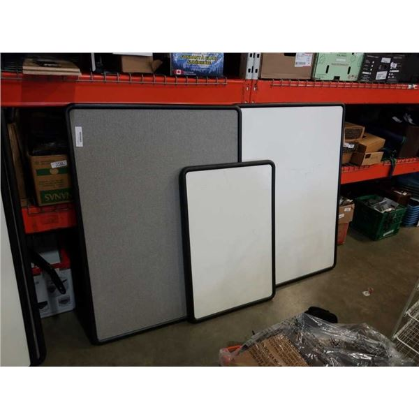 2 white boards and bulletin corkboard