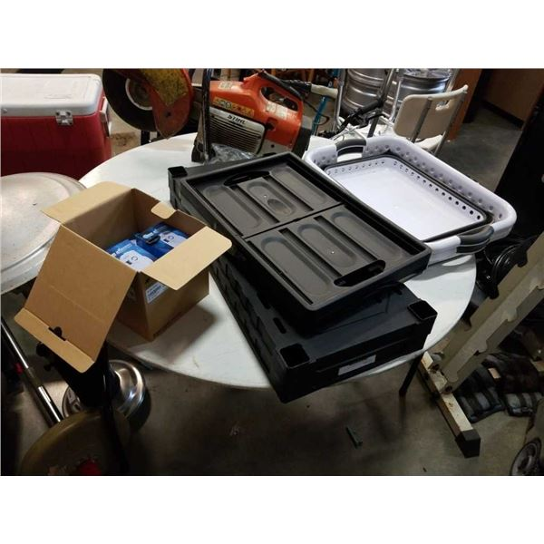 Lot of black shelves, instacrate and collapsable bins with new gas alarms