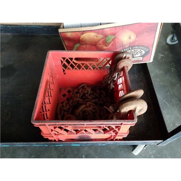 Crate of chain and hooks
