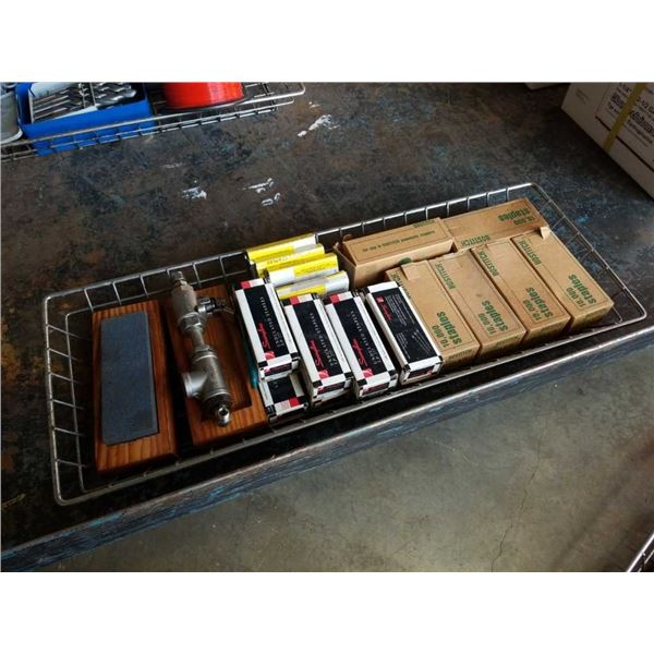 Tray of Staples and sharpening stone