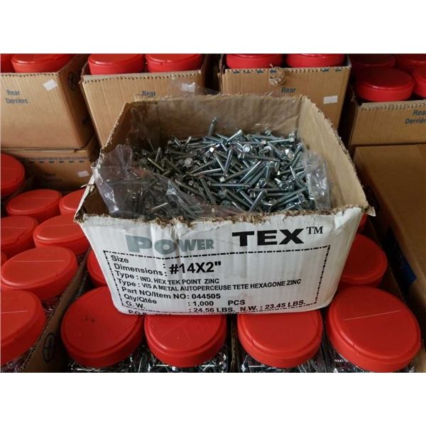 Box of number 14 by 2 inch hex head Tek Point zinc screws
