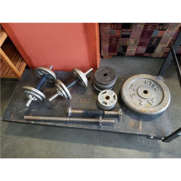 3 dumbbells and tricep bar with 130 lb of plate weight