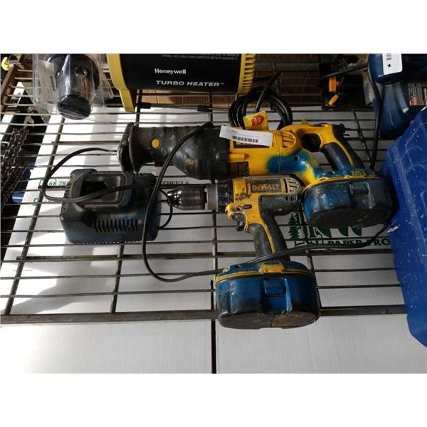 DEWALT RECIPROCATING SAW, DRILL, BATTERY AND CHARGER