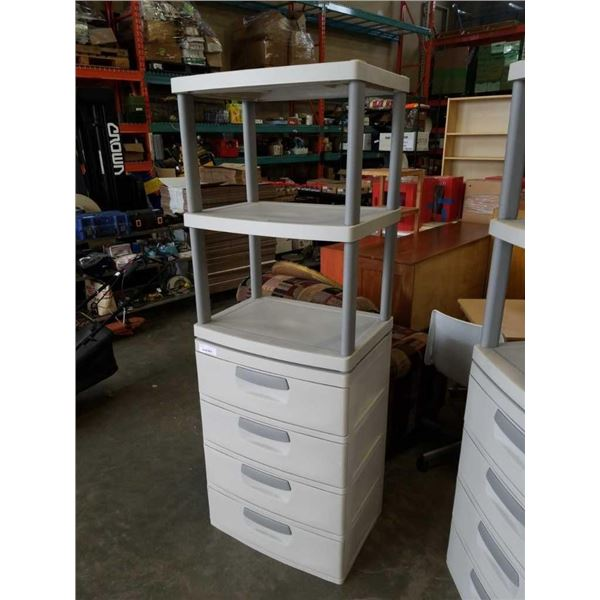 STERILITE 2 PIECE STORAGE UNIT - 4 DRAWERS, 3 SHELVES