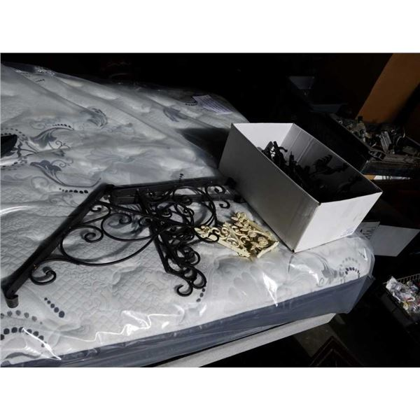 Box of rooster hooks with cast iron brackets and wire basket holder brackets