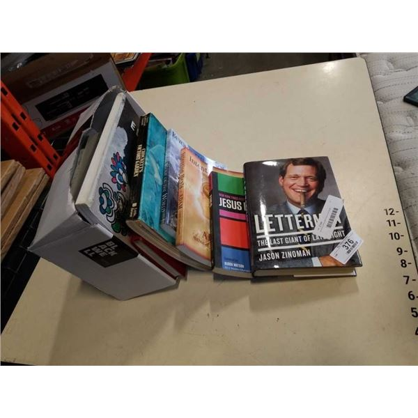 Stack of coffee table hardcover books
