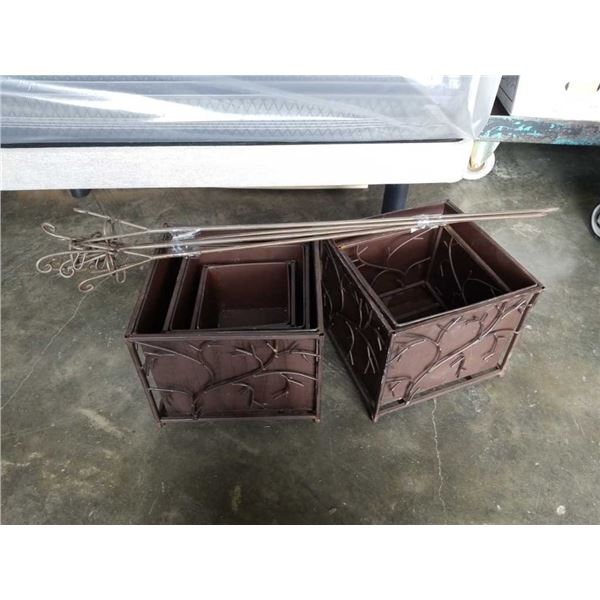 Lot of decorative metal bins and Spike candle holders