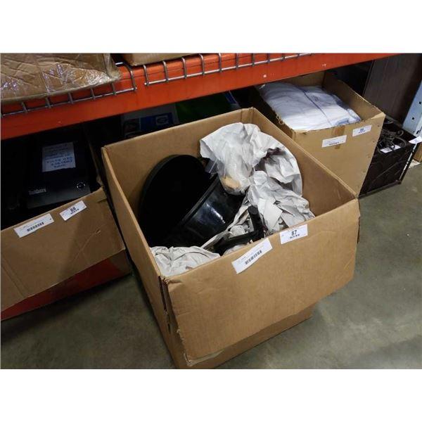 BOX OF POTS, PANS, KITCHEN ITEMS