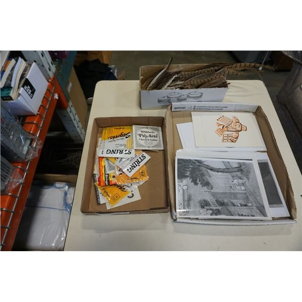 LOT OF GUITAR STRINGS, PRINTS, BILL REID CARDS, FEATHERS