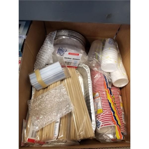 BOX OF DISPOSABLE CUPS, PLATES, SKEWERS, STRAWS