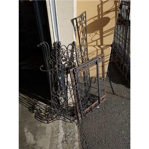 Lot of decorative metal panels and stands
