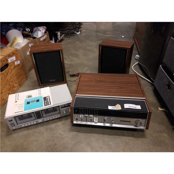 PANASONIC TURNTABLE AND SPEAKERS AND SANYO CASSETTE PLAYER