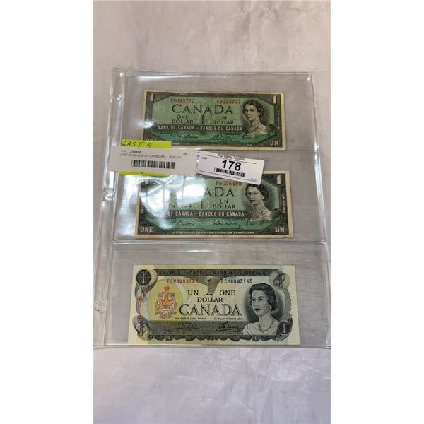 LAST 3 ISSUES OF CANADIAN 1 DOLLAR BILLS - 1954, 1967, 1973