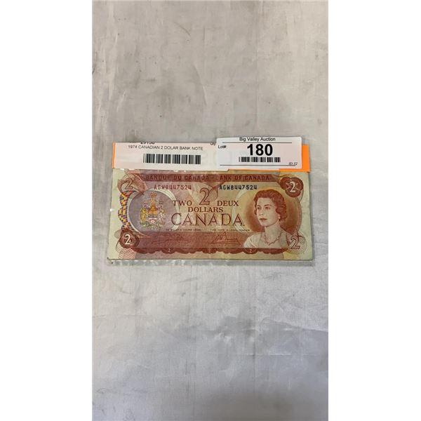 1974 CANADIAN 2 DOLAR BANK NOTE