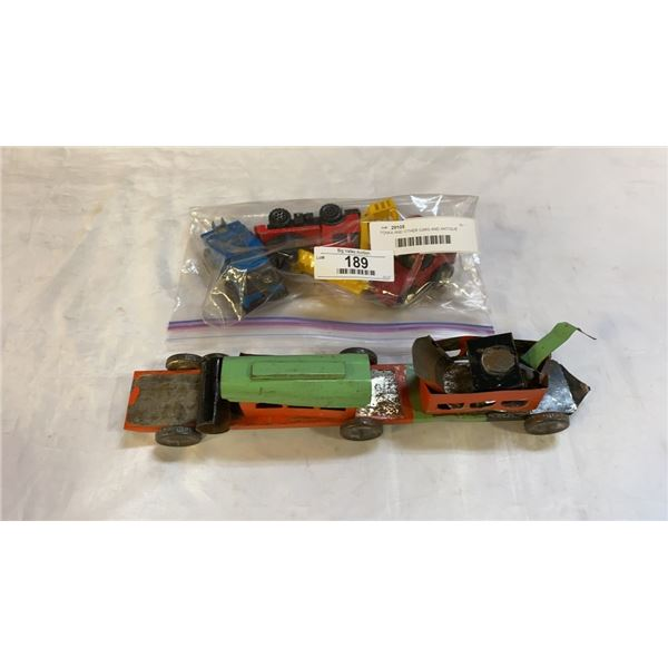TONKA AND OTHER CARS AND ANTIQUE TRAIN TOY AS FOUND