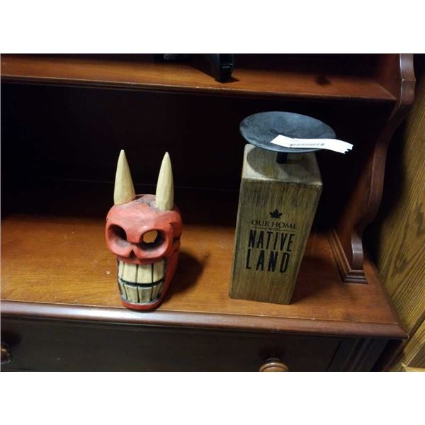 CANDLE STAND AND MEXICAN CARVED SKULL