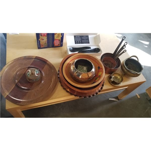 COPPER AND BRASS POTS AND WOOD PLATTERS