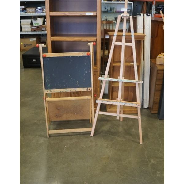 ART EASEL AND KIDS CHALKBOARD AND CORK BOARD EASEL