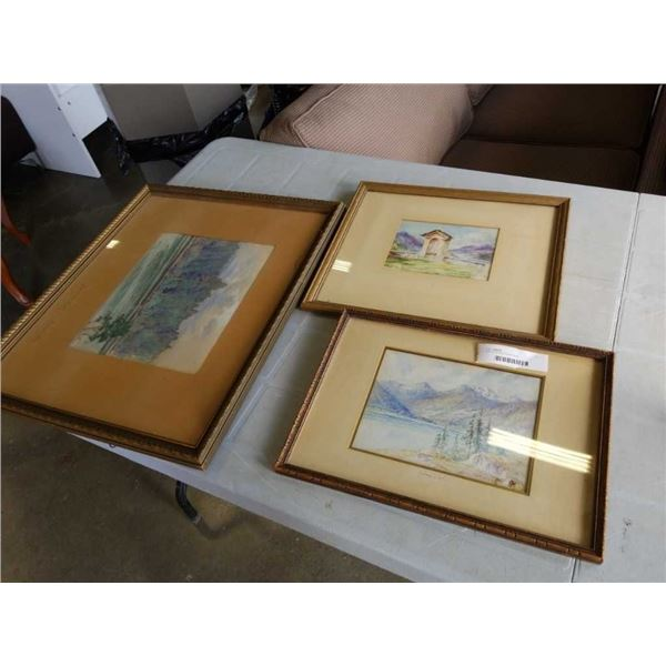 LOT OF SIGNED PAINTINGS, WATERCOLORS, ETC
