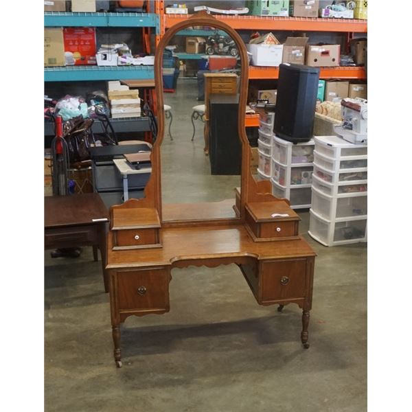 ANTIQUE VANITY WITH MIRROR - 69 INCHES TALL
