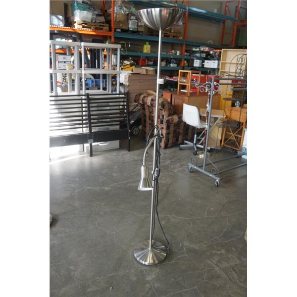 BRUSHED METAL FLOOR LAMP WITH ADJUSTABLE READING LAMP